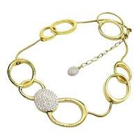 Gorgeous Swarovski Modernist Big Link Necklace Austrian Crystals Pave'