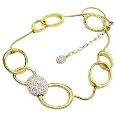 Vintage Swarovski Modernist Big Link Necklace Austrian Crystals Pave'