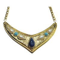 Egyptian Revival Gold Tone Faux Jewel Necklace Avon Adjustable Collar