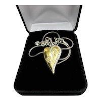 Vintage Brighton Two Tone Heart Necklace Swarovski Crystals