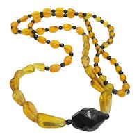 Art Deco Czech Glass Necklace Black Amber
