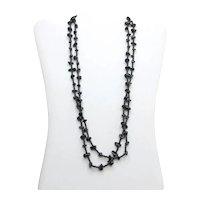 Long Flapper Style Black Obsidian Necklace Gemstone