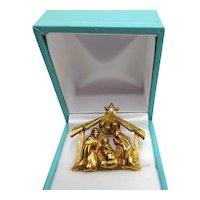 Rare Nativity Creche Christmas Pin Brooch Crystal Star Gold Tone