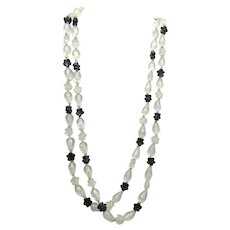 """Long Retro Beaded Necklace Hong Kong Black and Frosted Flower Beads 48"""""""