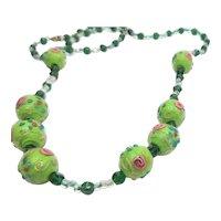 Early 1900s Italian Wedding Cake Bead Necklace Rare Apple Green