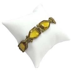 Art Deco Czech Glass Bracelet Yellow Gold Triangular Shaped Early