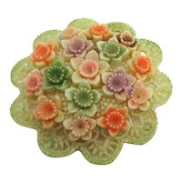 Pretty Occupied Japan Celluloid Floral Brooch Pin Beautifully Detailed