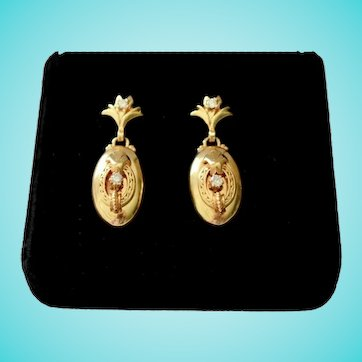 14 Karat Gold Diamonds Victorian Revival Estate Earrings Dangle Drop Fleur de Lis