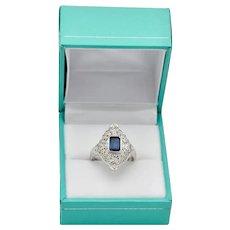 Art Deco Platinum Real Sapphire Ring Emerald Cut Half Carat Filagree Setting