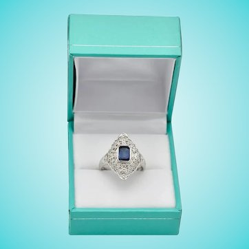 Art Deco Platinum Real Sapphire Ring Emerald Cut Half Carat Filagree Setting