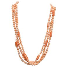 14 Karat Gold Triple Strand Angel Skin Coral Necklace Hand Knotted 52 Grams