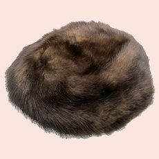 Mink Hat Bonwit Teller Genuine Brownish Black Natural Luxury Pill Box Bucket