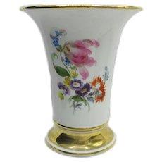 Antique Meissen Porcelain Hand Painted Gilded Vase Ca. 1850-1910