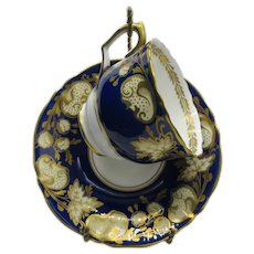 Gorgeous Crown Staffordshire Teacup Saucer English Cobalt Blue Heavy Gold Gilding