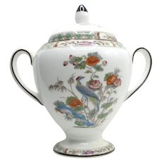 Wedgwood Kutani Crane Creamer English Bone China Globe Shape Sugar Bowl and Lid
