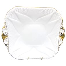 Shelley Bone China Regency Square Cake Plate Dainty Shape Gold Gilded