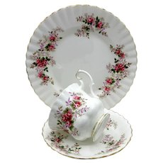 Royal Albert Lavender Rose English Bone China Tea Trio Montrose Style Floral Gilded