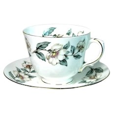 Crown Staffordshire English Teacup Pear Blossom Pattern Bone China 1930s