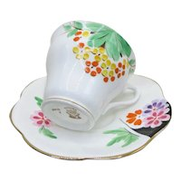 Rosina English Bone China Teacup Saucer Hand Painted Colorful Stylized Daisies