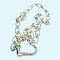 Italian Sterling Silver Floating Heart Necklace Pendant