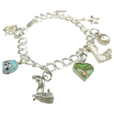 Vintage Sterling Silver Charm Bracelet 8 Charms Double Curb Link 20 Grams