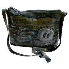 Designer Exotic Skins Purse Bag Black Carlos Falchi Snake Skin Suede Leather