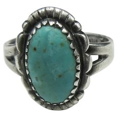 Navajo Silver Turquoise Ring Bell Trading Post Size 6.5 Sterling