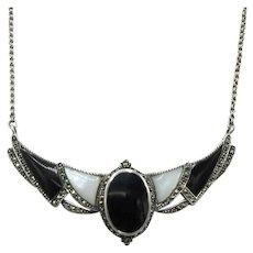 Art Deco Revival Necklace Sterling Black Onyx MOP Marcasites 20 Grams