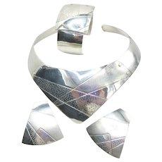 Hand Made Sterling Silver Collar Earrings 1980s Vlatka Varga 70 Grams S-M