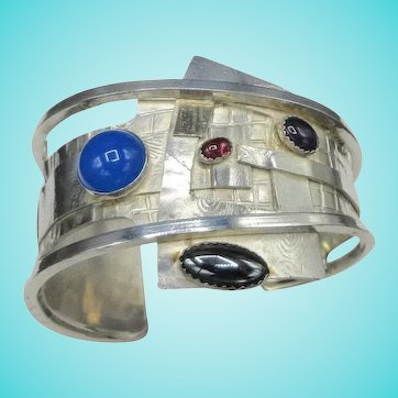 Artisan Mixed Metal Gemstone Sterling Silver  Cuff Bracelet OOAK Linda Thorp 77 Grams