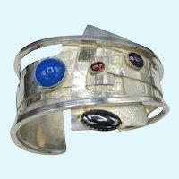 Modernist Gemstone Sterling Silver Cuff Bracelet OOAK Gemstone 77 Grams Mixed Metal Bold