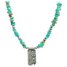 Sterling Silver Turquoise Pendant Necklace Artisan Modernist Design Signed