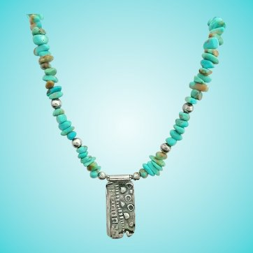 Sterling Silver Turquoise Pendant Necklace Artisan Modernist Design