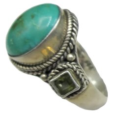 Sterling Turquoise Peridot Silver Ring Carolyn Pollack Designer Signed