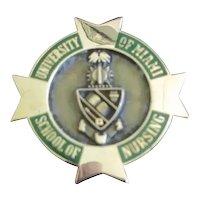 14 Karat Gold Nursing Pin University of Miami 8 Grams 1985 R.N. Bachelor Degree