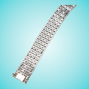 Italian Sterling Silver Mesh Bracelet Milor Wide Flexible Woven 41 Grams