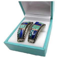 Turquoise Blue Lapis Red Jasper Sterling Silver Watch Band Tabs Signed RB Hand Made