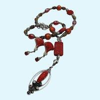 Cinnabar Sterling Silver Necklace Earrings Set Garnet Moon Stone Beaded Red Sajen