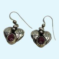 Designer Sterling Heart Earrings Red Jasper Relios Carolyn Pollack Pierced Dangle