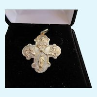 Four Way Catholic Medal I.D. Pendant Sterling Creed Sacred Heart Miraculous