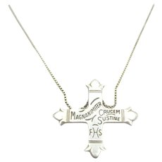 Order of Daughters of the King Cross Pendant Pin & Chain Sterling Silver Necklace