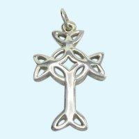 Pretty Celtic Cross Sterling Silver Open Work