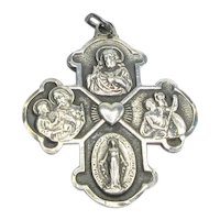 Anson Sterling 4 Way Catholic Medal Identity Miraculous Sts. Joseph Christopher Sacred Heart Jesus