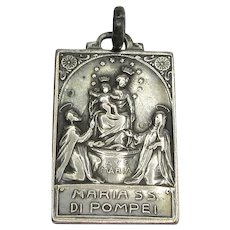 Rare Very Old Our Lady of Pompeii Sterling Medal Our Lady of the Rosary Catholic