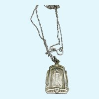 Pretty Sterling Miraculous Medal Pendant Chain Catholic Mother Mary