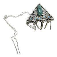 Israeli Eilat Stone & Turquoise Pendant Pin Hand Made Tribal Sterling Silver