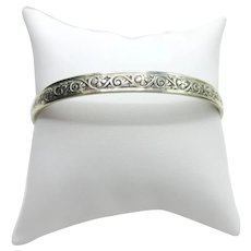 Mid Century Danecraft Sterling Bangle Bracelet Silver Scroll & Flower