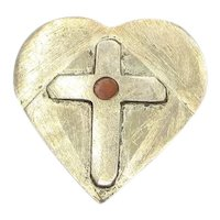 Hand Made Heart & Cross Pin Carnelian OOAK Naive Rustic