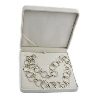 """Mexico Sterling Link Chain Necklace Belt 30"""" Hand Made Round 80 Grams Silver"""