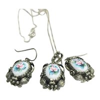 Victorian Revival 3 Pieces Necklace Earrings Hand Painted Porcelain Sterling Silver